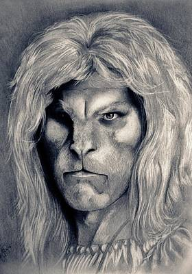 Beauty And The Beast Drawing - Ron Perlman's Beast by Amber Folliett