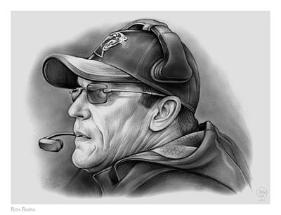 Football Drawing - Ron Rivera by Greg Joens