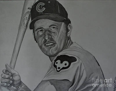 Wrigley Field Drawing - Ron Santo Portrait by Melissa Goodrich