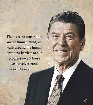 Ronald Reagan And Quote Art Print
