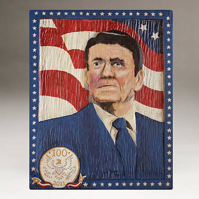 Folk Art Woodcarving Painting - Ronald Reagan Centennial Celebration by James Neill
