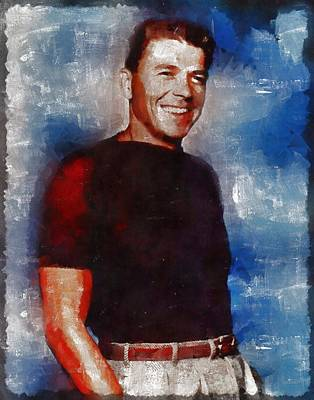 Politicians Paintings - Ronald Reagan Hollywood Actor and President by Mary Bassett
