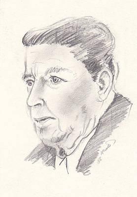 Drawing - Ronald Reagan by John Keaton