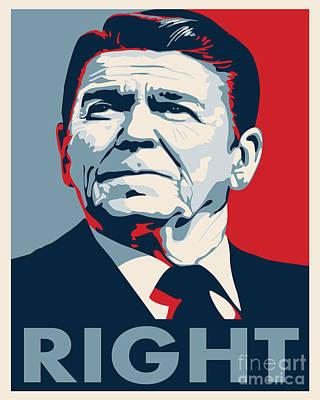 Conservative Digital Art - Ronald Reagan by John L