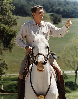 Ronald Reagan On Horseback  Art Print