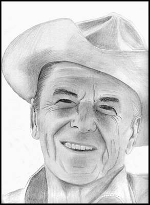 Drawing - Ronald Reagan by Pat Moore