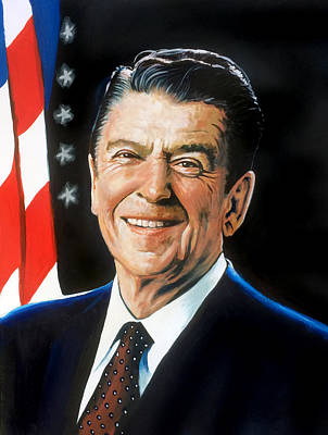 Painting - Ronald Reagan Portrait by Robert Korhonen