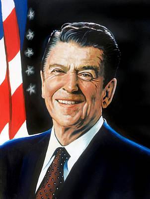Ronald Reagan Portrait Art Print by Robert Korhonen