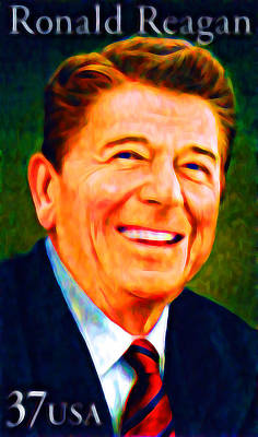 Conservative Painting - Ronald Reagan Stamp  by Lanjee Chee