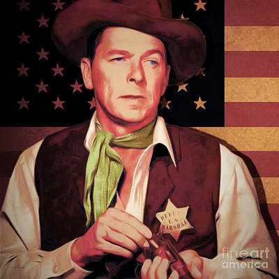 Ronald Reagan The New Marshal Is In Town 20151229v2 Square Art Print