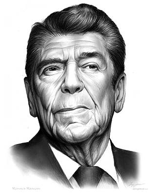 Politicians Drawings - Ronald Regan by Greg Joens