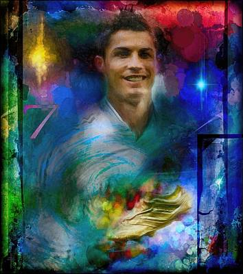 Athletes Royalty-Free and Rights-Managed Images - Ronaldo Colors And Lights  by Daniel Arrhakis