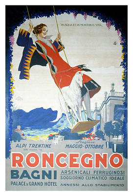 Mixed Media - Roncegno Bagni - Palace And Grand Hotel - Vintage Advertising Poster by Studio Grafiikka