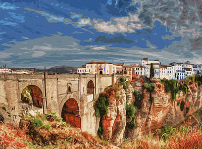 Painting - Ronda, A View Of The Famous Puente Nuevo by Andrea Mazzocchetti