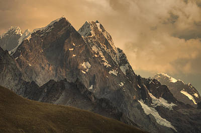 Mountain Range Photograph - Rondoy Peak 5870m At Sunset by Colin Monteath
