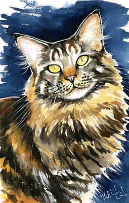 Painting - Ronja - Maine Coon Cat Painting by Dora Hathazi Mendes