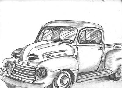 Drawing - Ronnie Faulk's Old Truck by Kevin Callahan