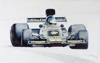 Benetton Wall Art - Drawing - Ronnie Peterson - Lotus 76 by Lorenzo Benetton