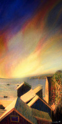 Boston Ma Painting - Roof Tops Over Provincetown Harbor by Mike Massengale