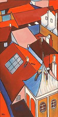 Painting - Roofs  1 by Miki  Sion