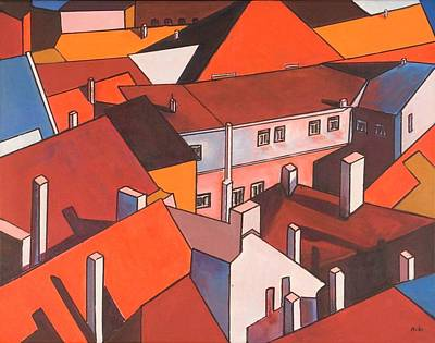 Painting - Roofs Of Prague by Miki Sion