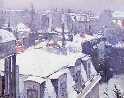 Paris Wall Art - Painting - Roofs Under Snow by Gustave Caillebotte