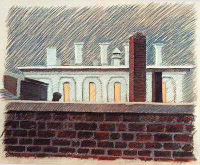 Drawing - Roof Top In Stoneham 1978 by Nancy Griswold