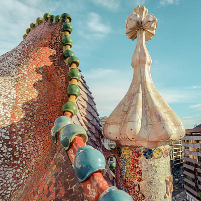 Antoni Gaudi Wall Art - Photograph - Rooftop Magic by Slow Fuse Photography