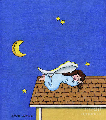 Moon Drawing Drawing - Rooftop Sleeper by Sarah Batalka
