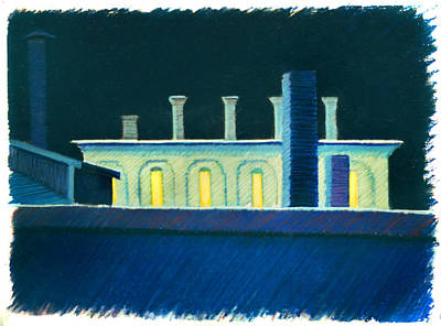 Drawing - Roof Tops At Night by Nancy Griswold