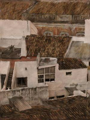 Impressionism Royalty-Free and Rights-Managed Images - Rooftops by John Springfield by John Springfield