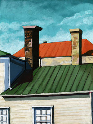 Rooftops City Houses Painting Art Print by Linda Apple