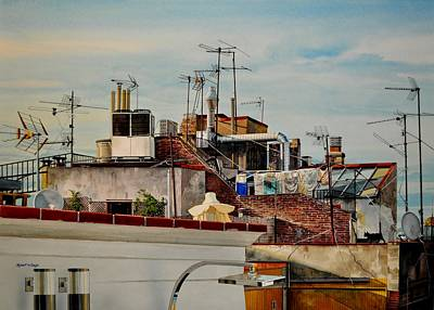 Painting - Rooftops Of Barcelona by Robert W Cook