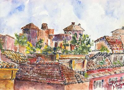 Rooftops Of Rome Art Print by Albert Fendig