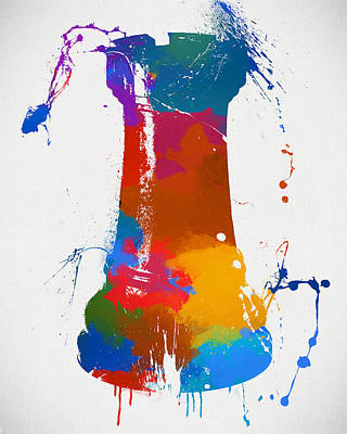 Chess Pieces Painting - Rook Chess Piece Paint Splatter by Dan Sproul