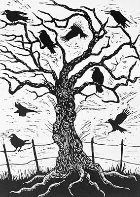 The Trees Drawing - Rook Tree by Nat Morley