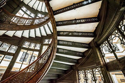 Photograph - Rookery Building Looking Up Underneath The Winding Stairs by Anthony Doudt