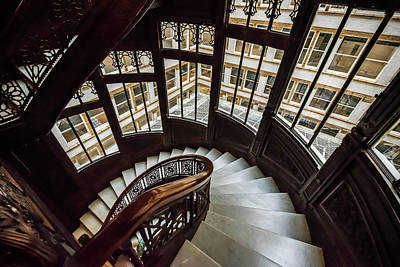 Photograph - Rookery Building Winding Down The Staircase And Windows by Anthony Doudt