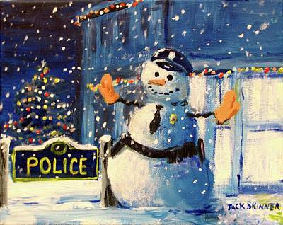 Painting - Rookie Working Christmas Eve by Jack Skinner
