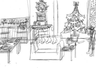 Matthew Joseph Williams Drawing - Room For Christmas by Artists With Autism Inc