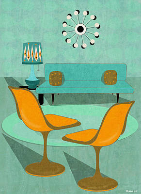 Eames Chair Wall Art - Painting - Room For Conversation by Little Bunny Sunshine