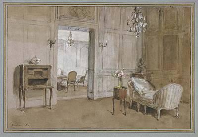 Chaise Longue Painting - Room In The Chateau De Breau, Near Paris by La Chaise