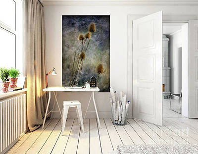 Digital Art - Room Mock Up With Teasels From Crail by Liz Alderdice