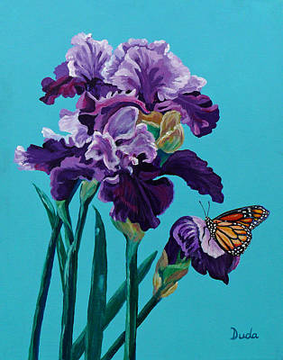 Painting - Kim's Iris's With Monarch. by Susan Duda
