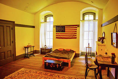 Colorful Buildings Photograph - Room With American Flag by Garry Gay