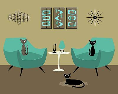 Digital Art - Room With Dark Aqua Chairs 2 by Donna Mibus