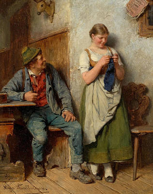 Woodsmen Painting - Room With Woodsman And A Young Woman Knitting by Hugo Kauffmann