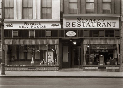 Rooney's Restaurant Wilkes Barre Pa 1940s Print by Arthur Miller