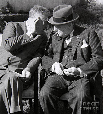 Roosevelt And Churchill Deep In Conversation At The Casablanca Conference, Morocco, January 1943 Art Print