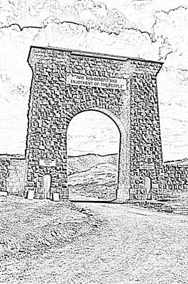 Photograph - Roosevelt Arch 1903 Gate Old Time Dirt Road Yellowstone National Park Bw Sketch Digital Art by Shawn O'Brien